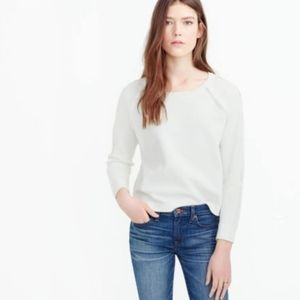 NWT J.Crew SCALLOPED CREWNECK SWEATER white L
